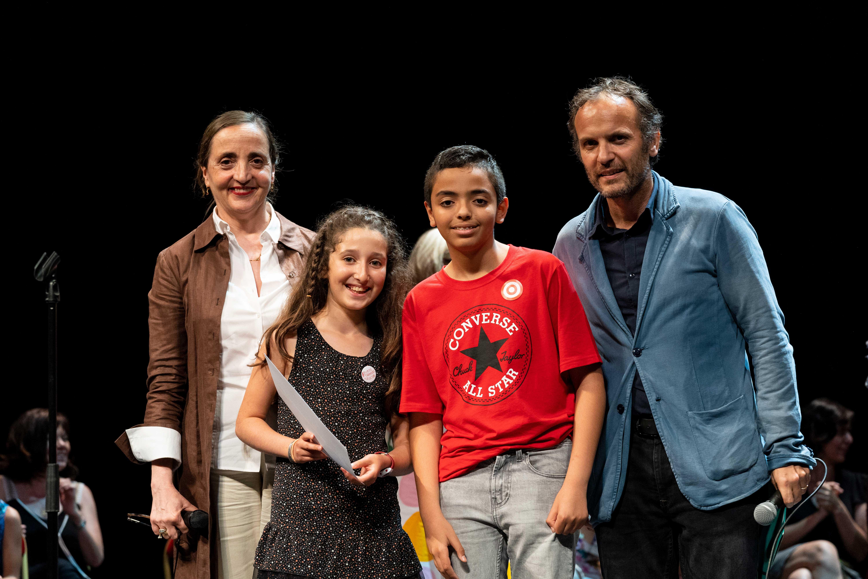 Photo de Delhia, Wassim, Timothée Fombelle et Dominique Blanc sur scène 2019